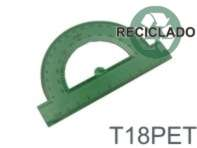 T18PET - Transferidor de 180º em PET reciclado.